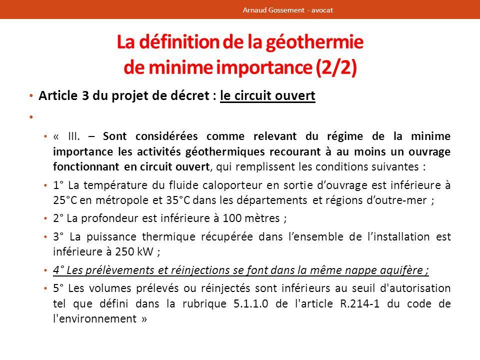 La définition de la géothermie de minime importance (2/2)