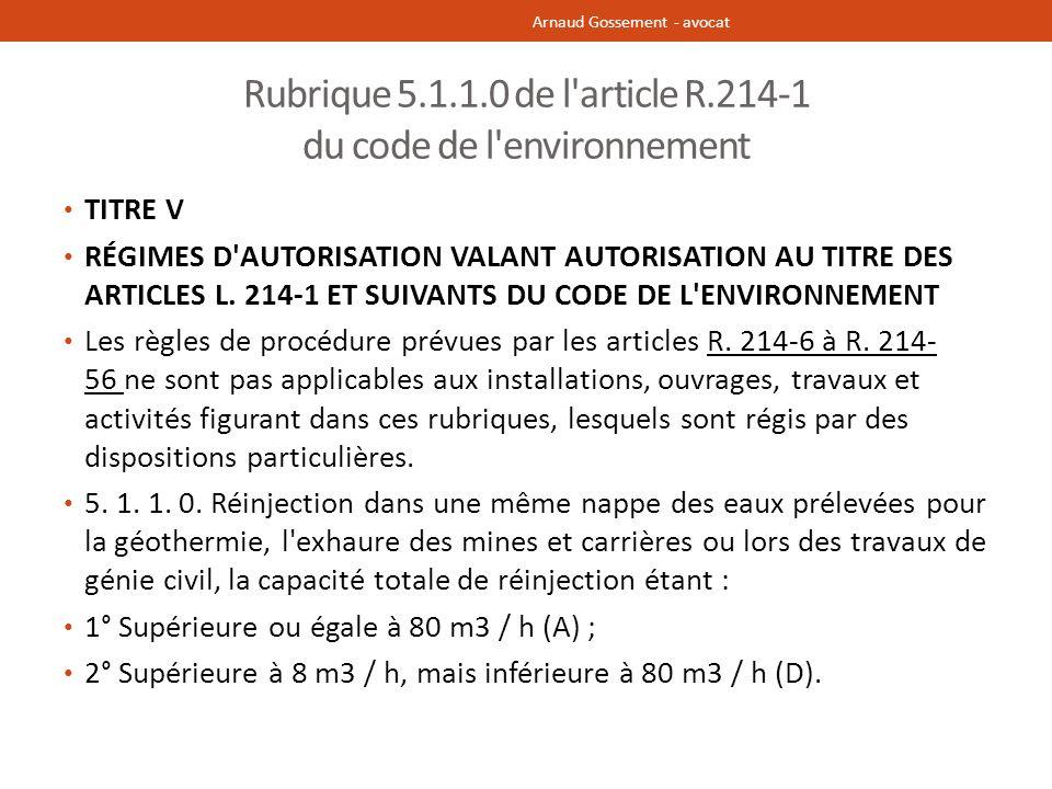 Rubrique 5.1.1.0 de l article R.214-1 du code de l environnement