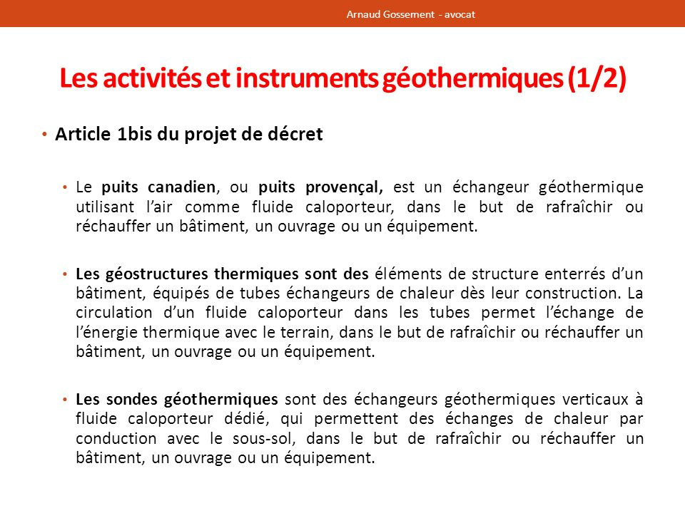 Les activités et instruments géothermiques (1/2)