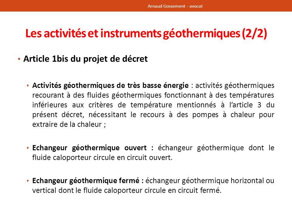 Les activités et instruments géothermiques (2/2)