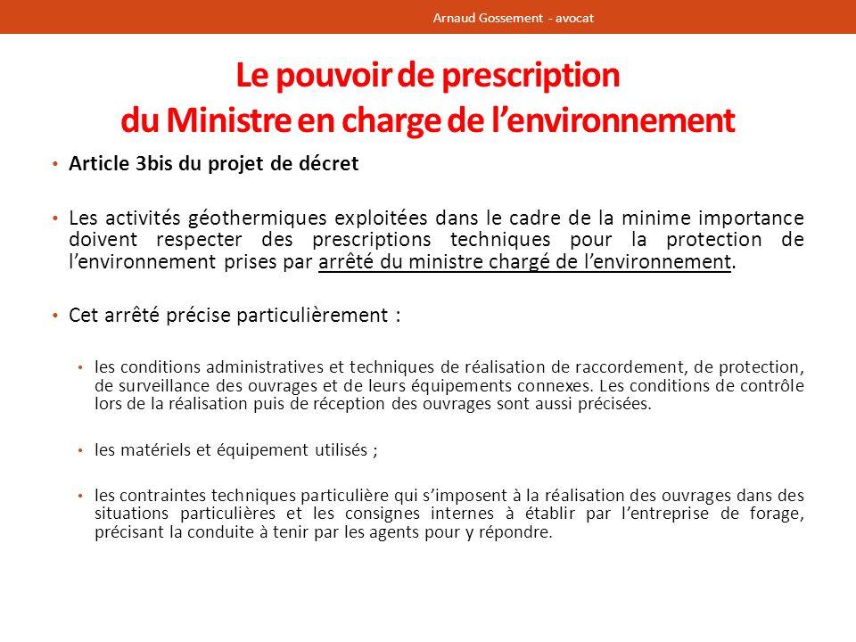 Le pouvoir de prescription du Ministre en charge de l'environnement