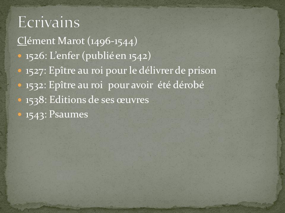 Ecrivains Clément Marot (1496-1544) 1526: L'enfer (publié en 1542)