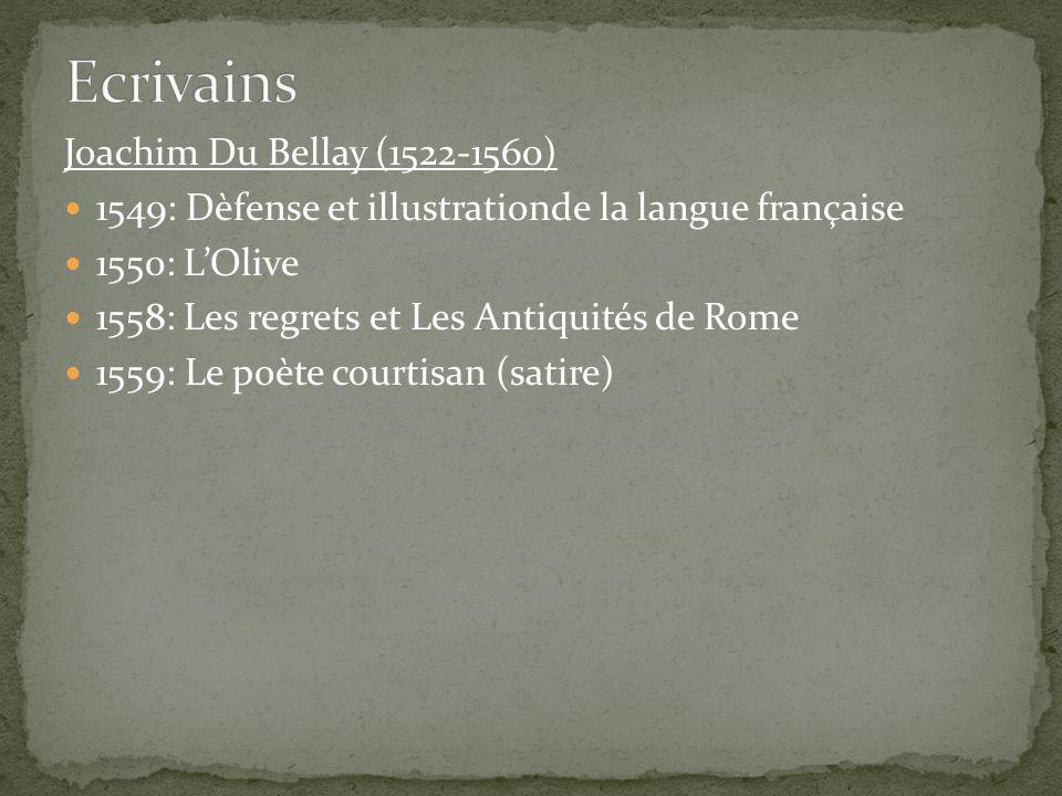 Ecrivains Joachim Du Bellay (1522-1560)