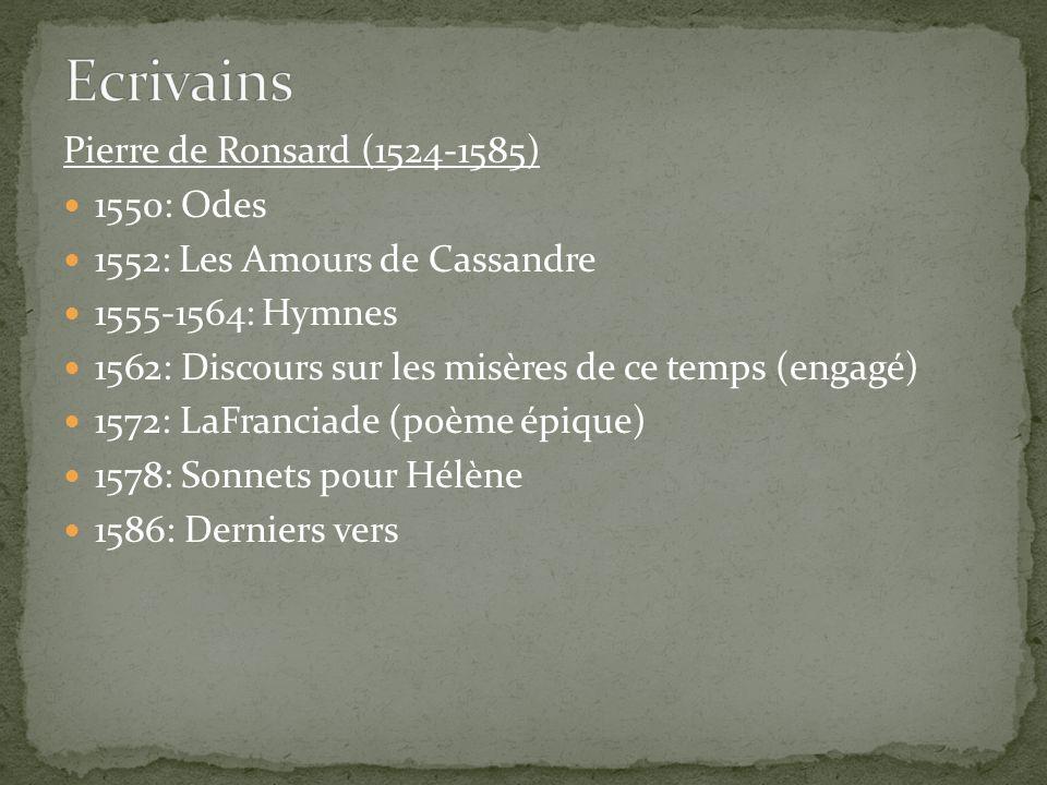 Ecrivains Pierre de Ronsard (1524-1585) 1550: Odes