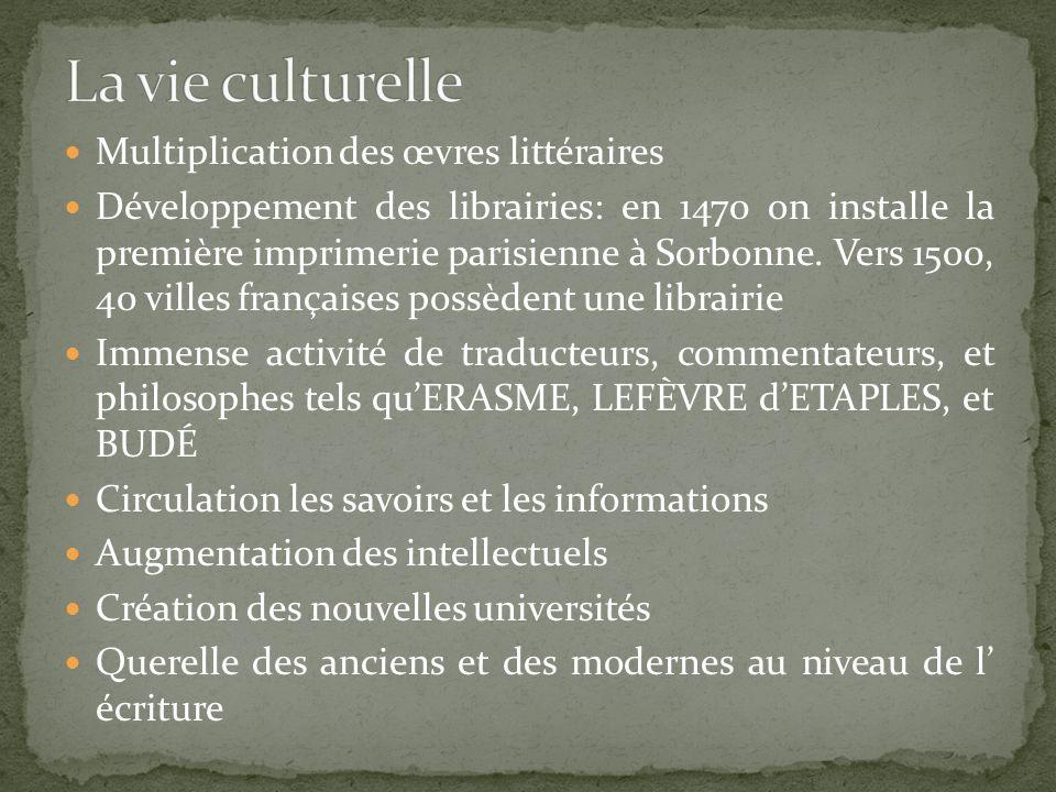 La vie culturelle Multiplication des œvres littéraires
