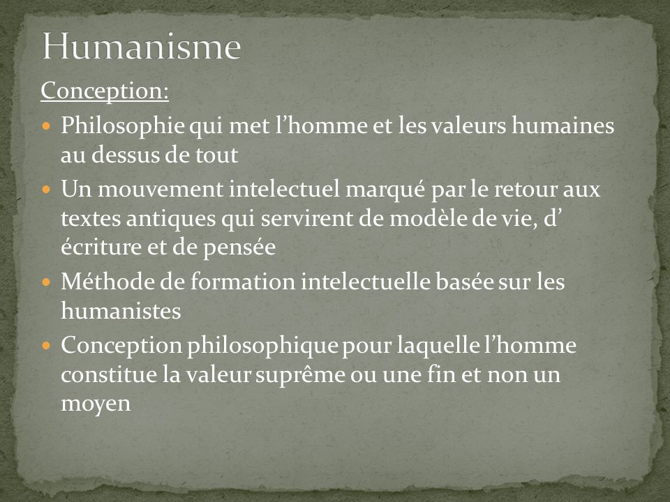 Humanisme Conception: