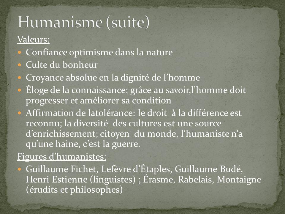 Humanisme (suite) Valeurs: Confiance optimisme dans la nature