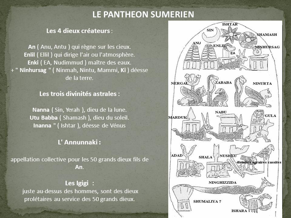 LE PANTHEON SUMERIEN Les 4 dieux créateurs : L Annunnaki :