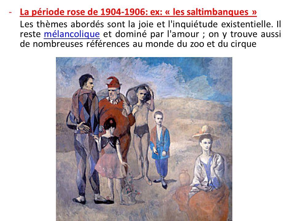 La période rose de 1904-1906: ex: « les saltimbanques »