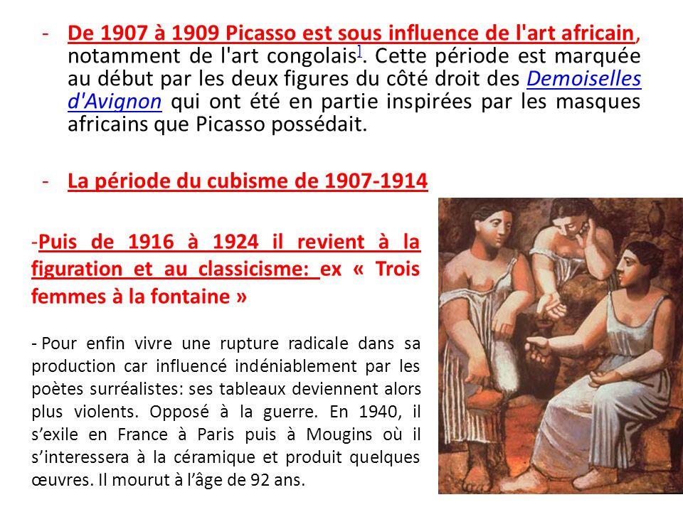 La période du cubisme de 1907-1914