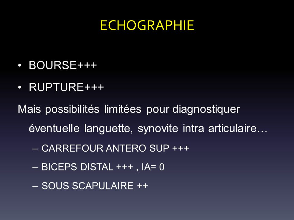ECHOGRAPHIE BOURSE+++ RUPTURE+++