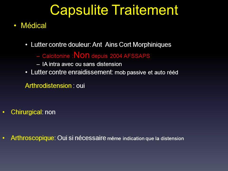 Capsulite Traitement Médical Arthrodistension : oui