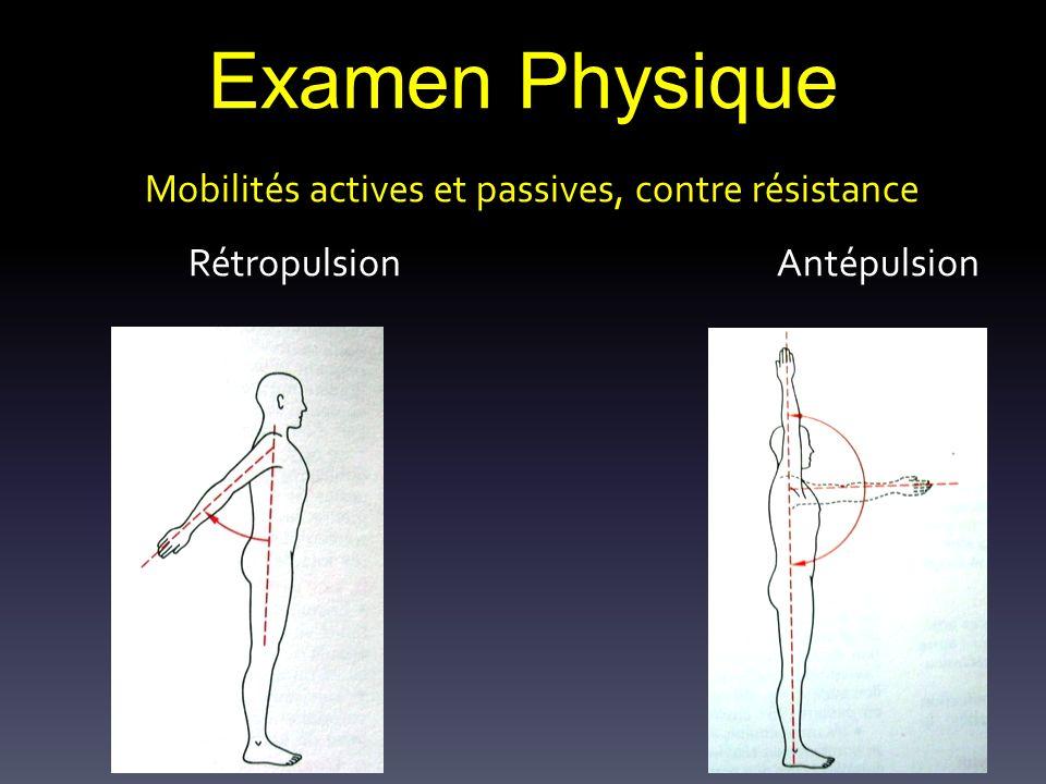 Examen Physique Mobilités actives et passives, contre résistance Rétropulsion Antépulsion.