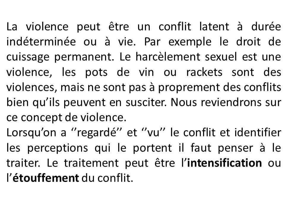 La violence peut être un conflit latent à durée indéterminée ou à vie