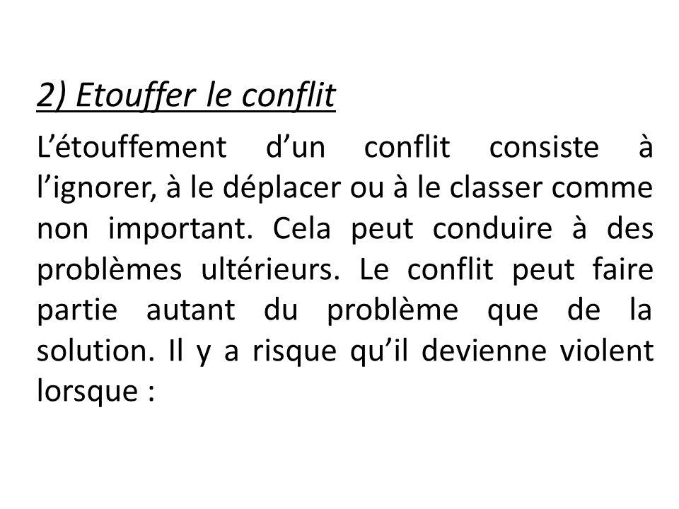 2) Etouffer le conflit