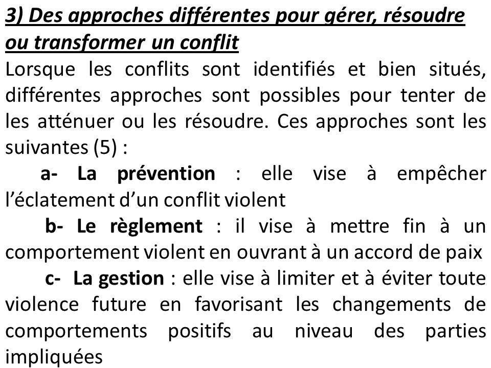 3) Des approches différentes pour gérer, résoudre ou transformer un conflit