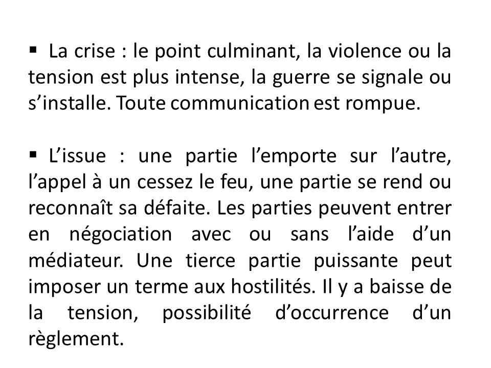 La crise : le point culminant, la violence ou la tension est plus intense, la guerre se signale ou s'installe. Toute communication est rompue.