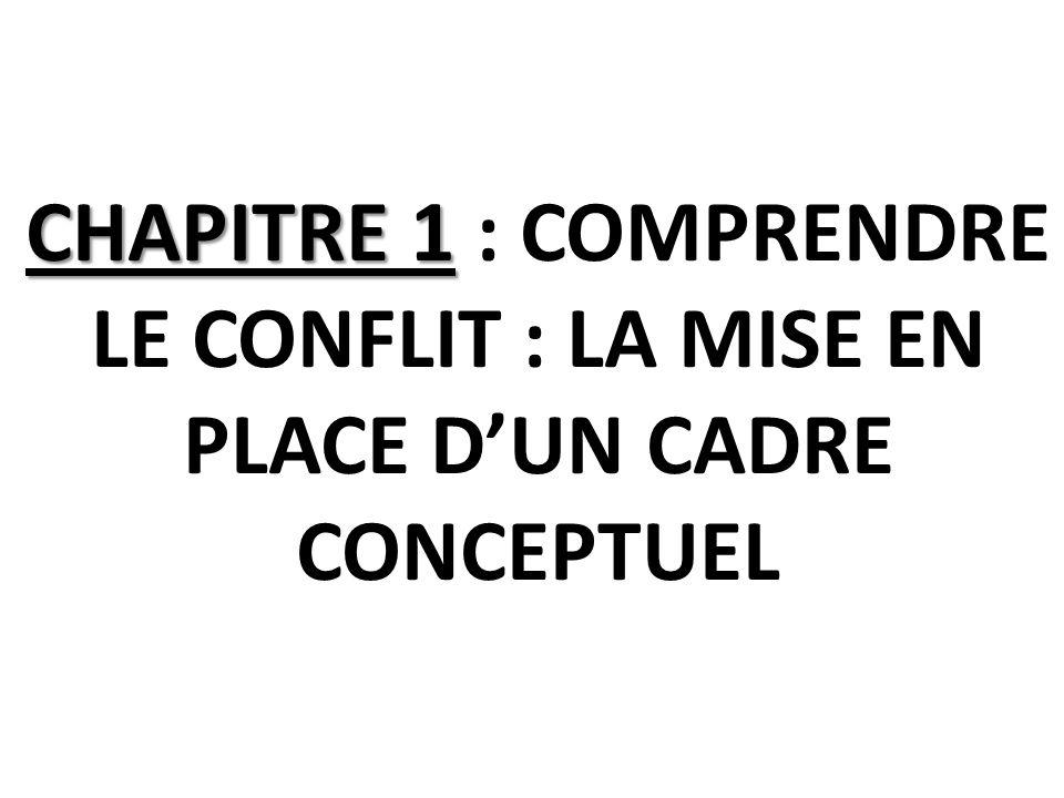 CHAPITRE 1 : COMPRENDRE LE CONFLIT : LA MISE EN PLACE D'UN CADRE CONCEPTUEL