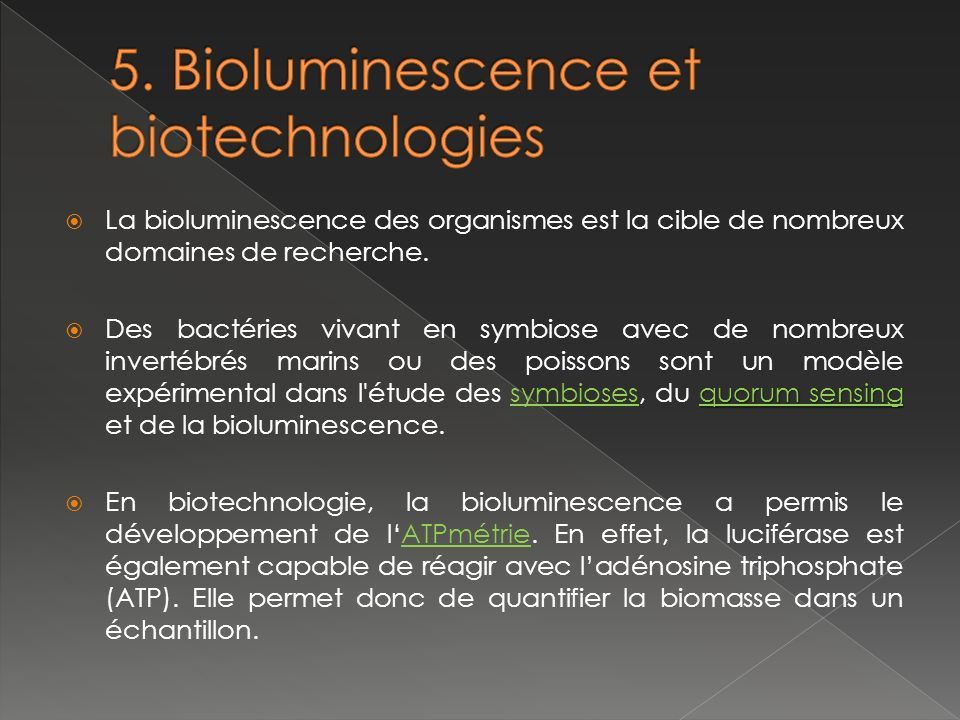 5. Bioluminescence et biotechnologies