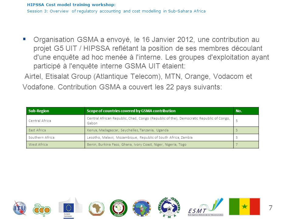 Airtel, Etisalat Group (Atlantique Telecom), MTN, Orange, Vodacom et