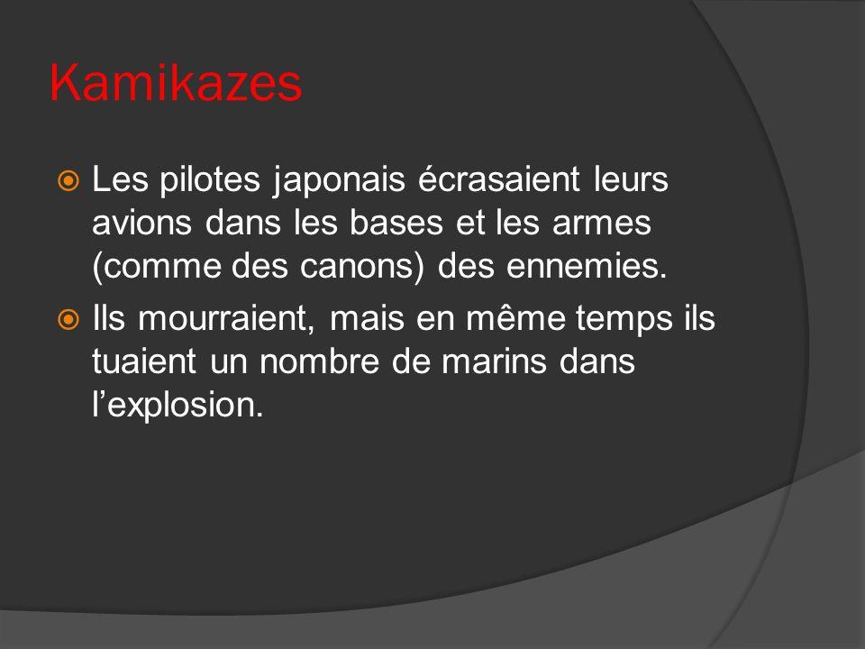 Kamikazes Les pilotes japonais écrasaient leurs avions dans les bases et les armes (comme des canons) des ennemies.