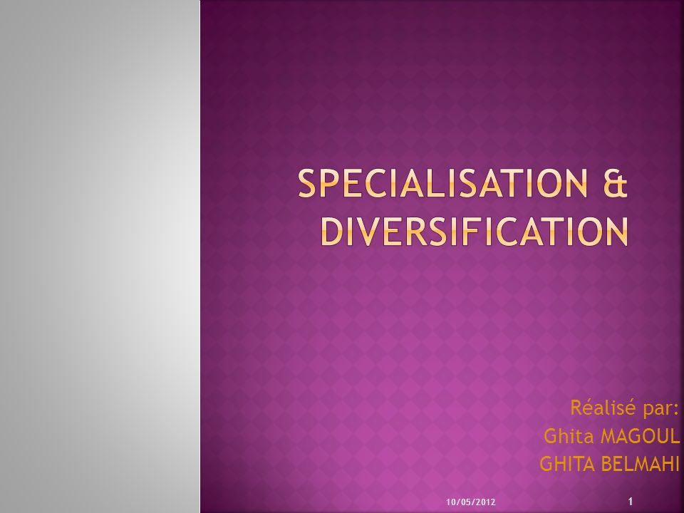SPECIALISATION & DIVERSIFICATION