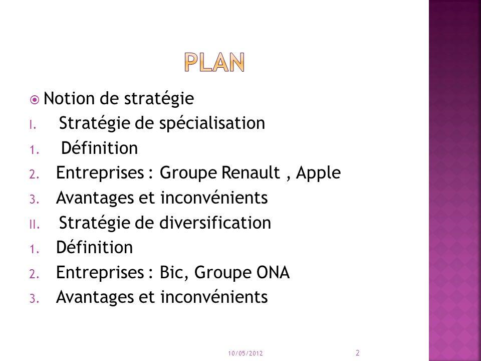 Plan Notion de stratégie Stratégie de spécialisation Définition