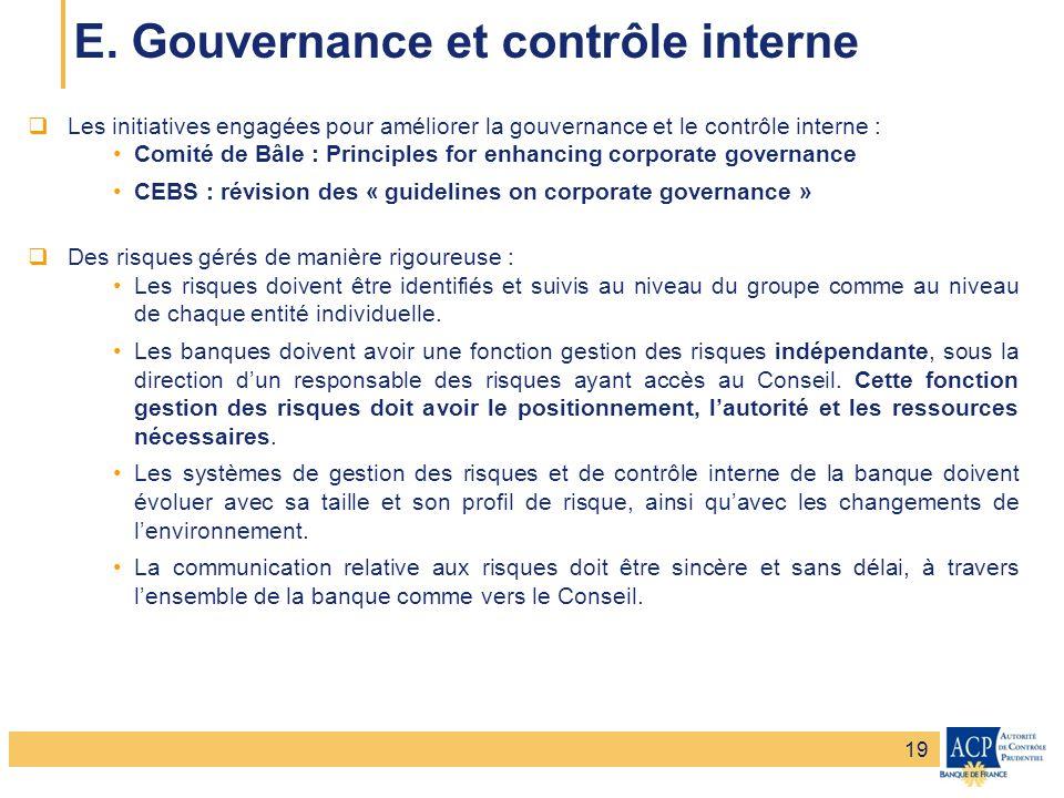 E. Gouvernance et contrôle interne
