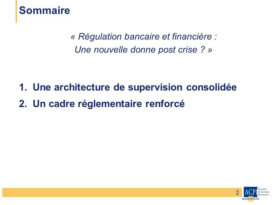 Sommaire Une architecture de supervision consolidée