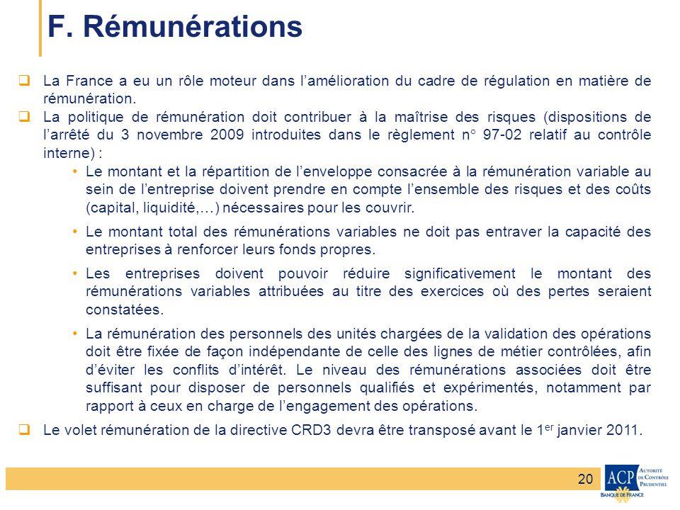 F. Rémunérations La France a eu un rôle moteur dans l'amélioration du cadre de régulation en matière de rémunération.