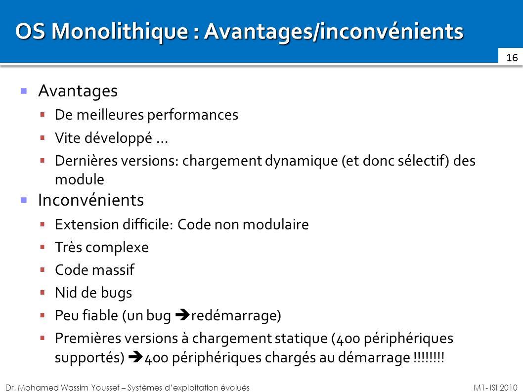 OS Monolithique : Avantages/inconvénients