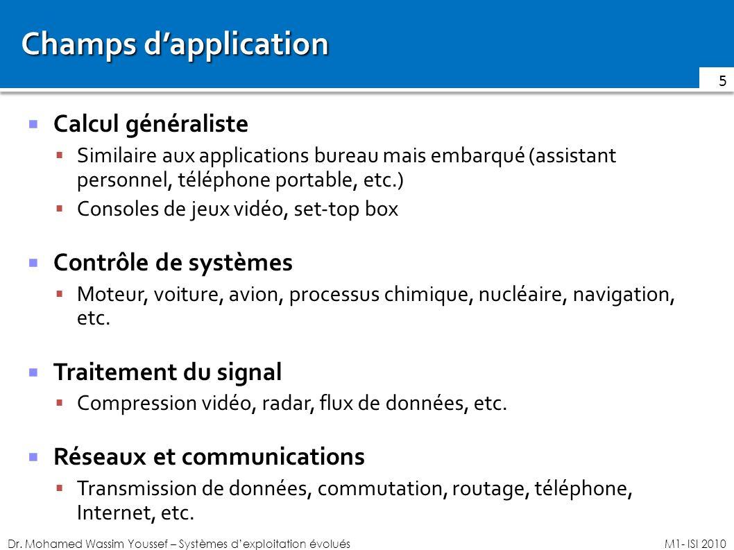 Champs d'application Calcul généraliste Contrôle de systèmes