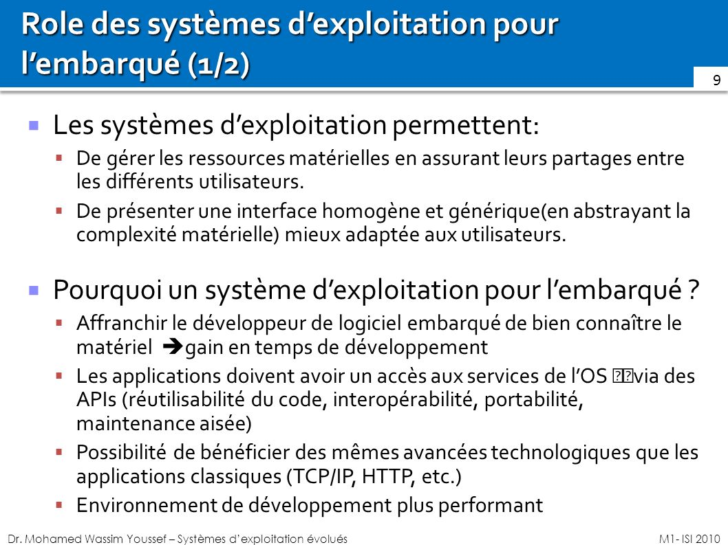 Role des systèmes d'exploitation pour l'embarqué (1/2)