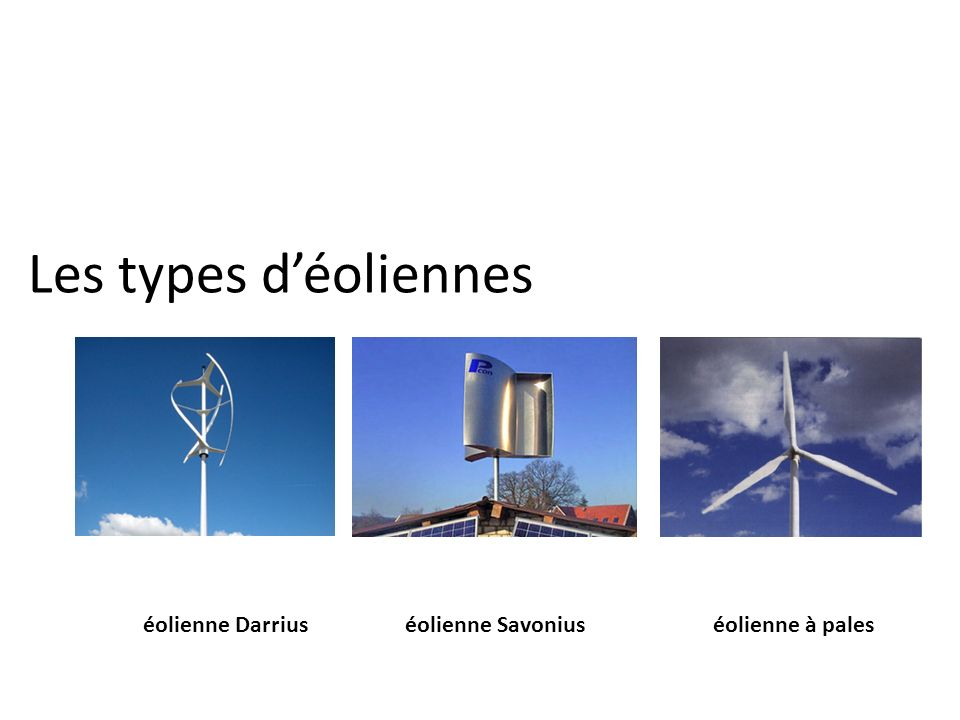 Les types d'éoliennes éolienne Darrius éolienne Savonius
