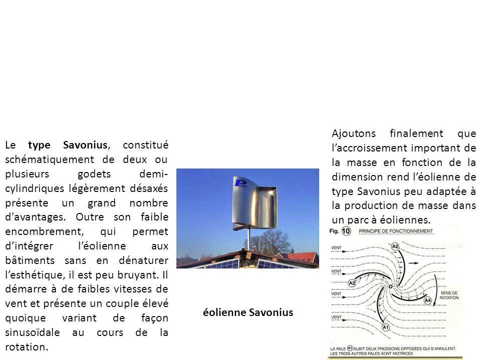 Ajoutons finalement que l'accroissement important de la masse en fonction de la dimension rend l'éolienne de type Savonius peu adaptée à la production de masse dans un parc à éoliennes.