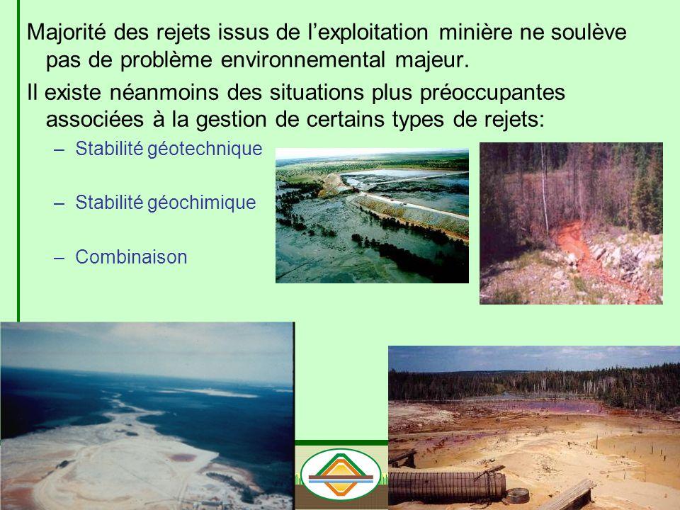 Majorité des rejets issus de l'exploitation minière ne soulève pas de problème environnemental majeur.