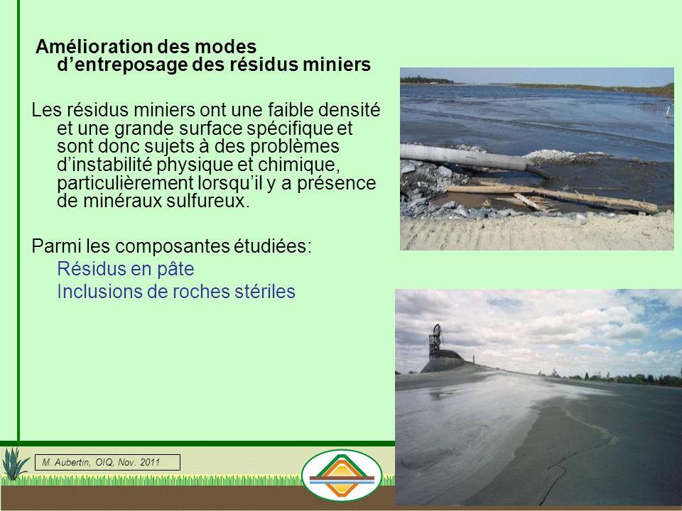Amélioration des modes d'entreposage des résidus miniers