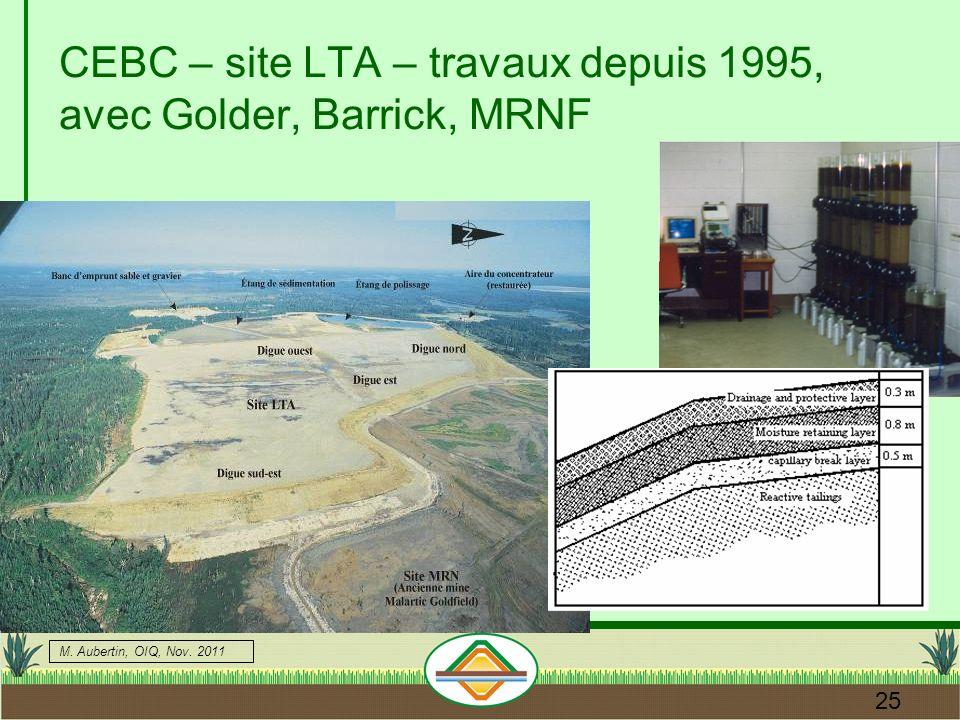 CEBC – site LTA – travaux depuis 1995, avec Golder, Barrick, MRNF