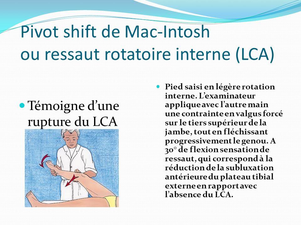 Pivot shift de Mac-Intosh ou ressaut rotatoire interne (LCA)