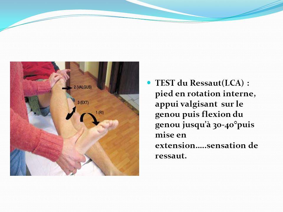 TEST du Ressaut(LCA) : pied en rotation interne, appui valgisant sur le genou puis flexion du genou jusqu'à 30-40°puis mise en extension…..sensation de ressaut.