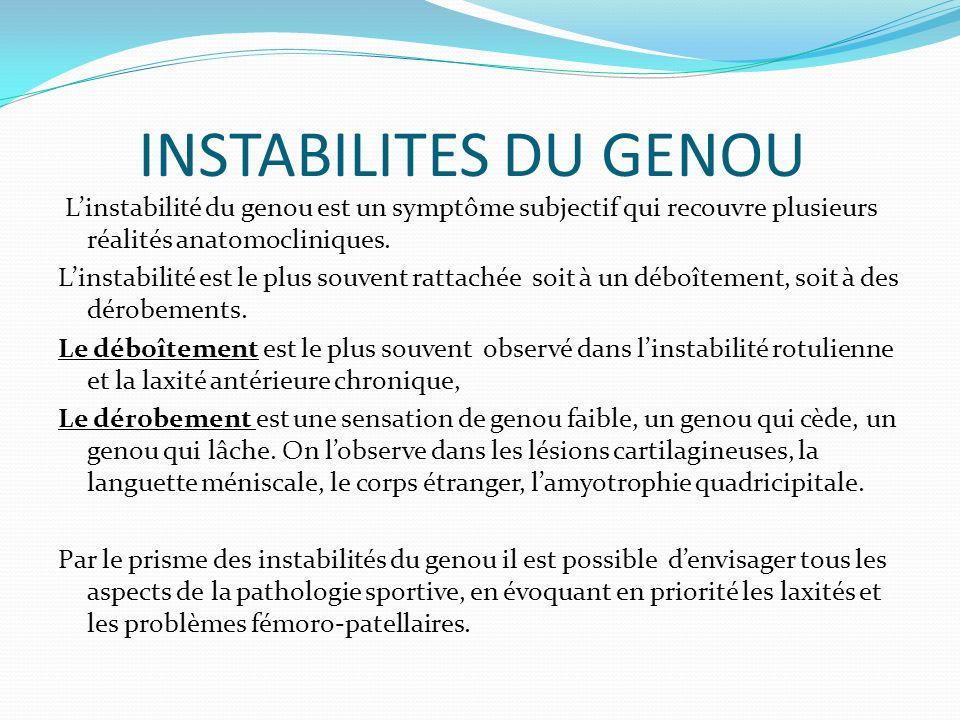 INSTABILITES DU GENOU L'instabilité du genou est un symptôme subjectif qui recouvre plusieurs réalités anatomocliniques.
