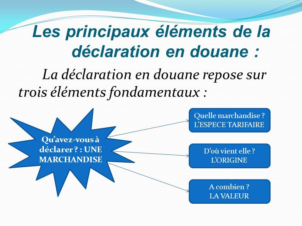 Les principaux éléments de la déclaration en douane :