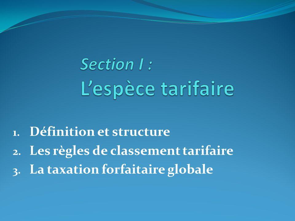 Section I : L'espèce tarifaire