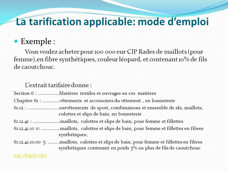 La tarification applicable: mode d'emploi