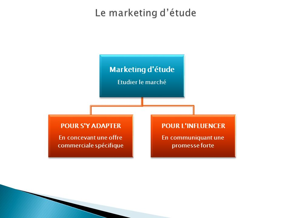 Le marketing d'étude Marketing d étude POUR S Y ADAPTER