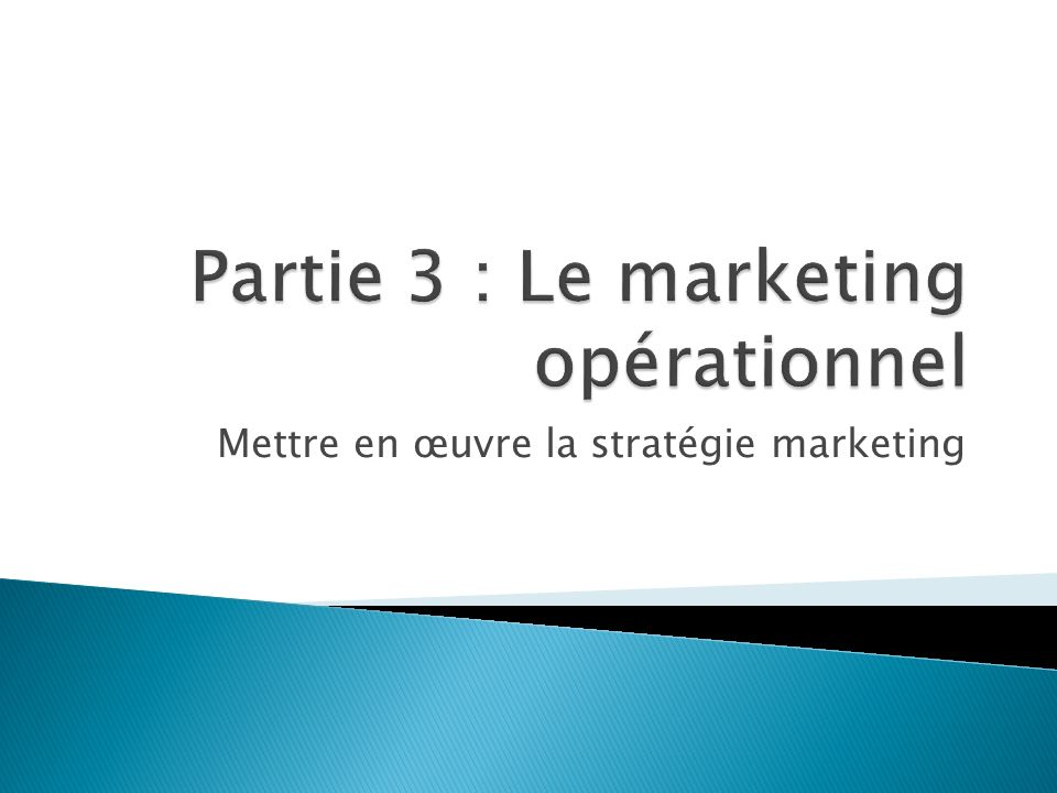 Partie 3 : Le marketing opérationnel