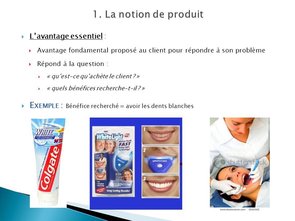 1. La notion de produit L'avantage essentiel : Avantage fondamental proposé au client pour répondre à son problème.