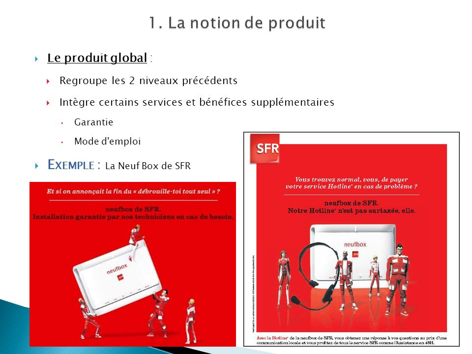 1. La notion de produit Exemple : La Neuf Box de SFR