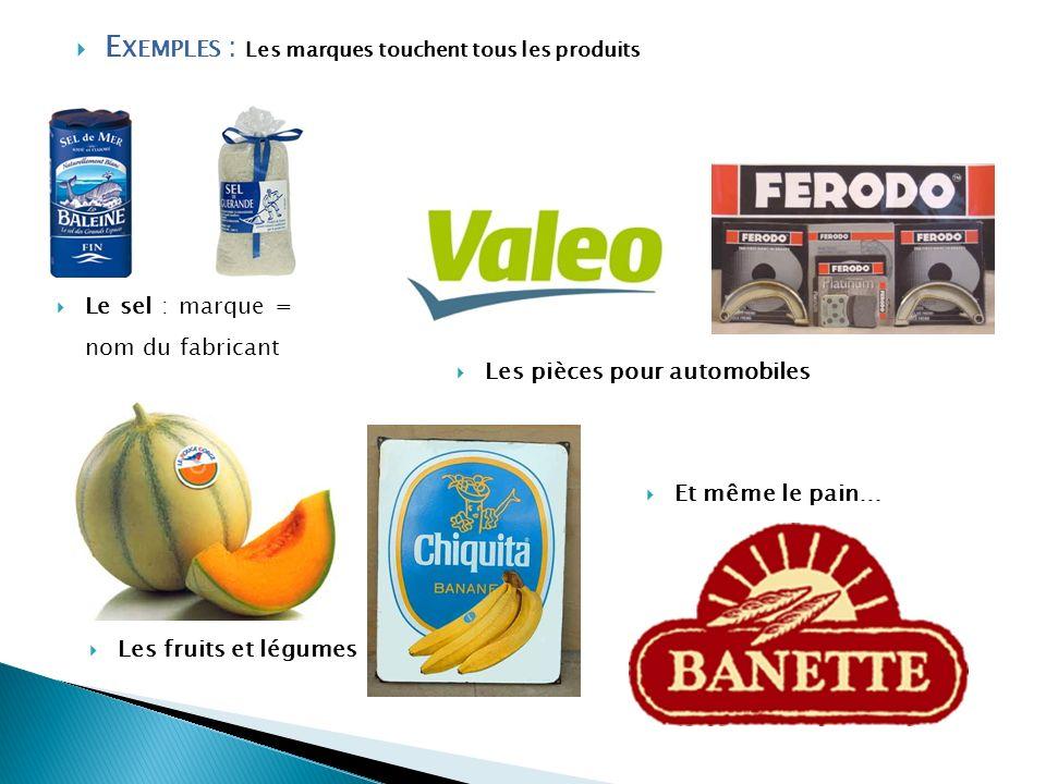 Exemples : Les marques touchent tous les produits