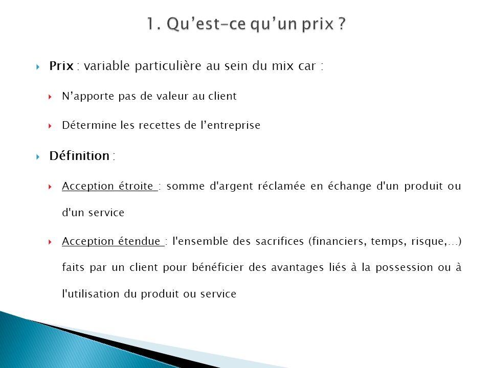 1. Qu'est-ce qu'un prix Prix : variable particulière au sein du mix car : N'apporte pas de valeur au client.